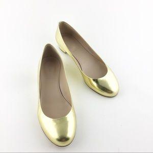 J. Crew Janey Metallic Gold Leather Ballet Flats